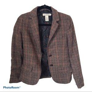Tweed Wool Elbow Patch Blazer Jacket, Sz 4